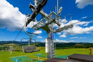 Sunset and Fall chairlift rides at Granite Peak Ski Area Near Wausau, Wisconsin
